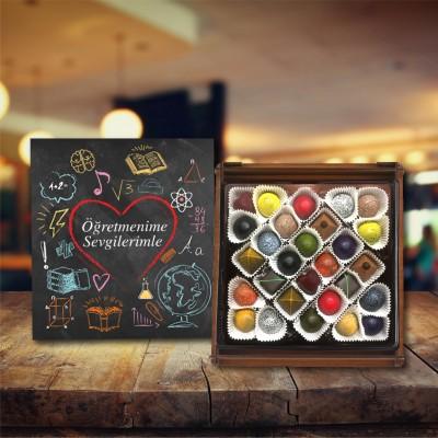 (300 gr) Öğretmen Ahşap Kutu Spesiyal Çikolata
