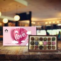 (270 gr)  Aşk Balonu Ahşap Kutu Trüf Çikolata