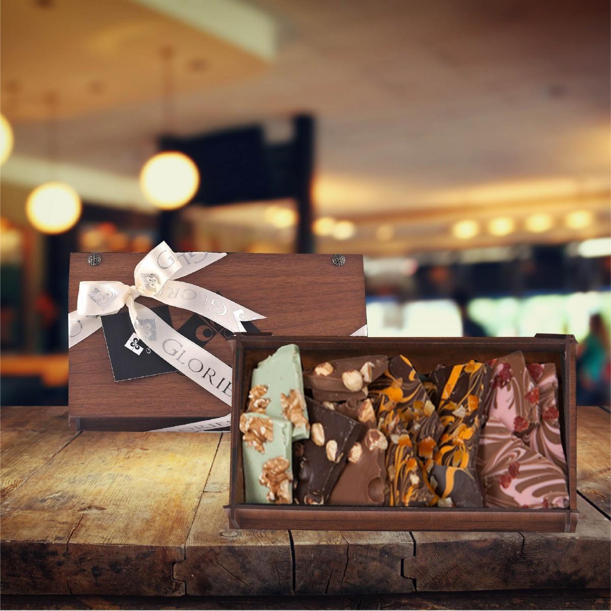 (400 gr) Kırma Ahşap Kutu Çikolata